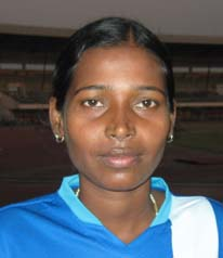 Orissa woman football international <b>Sradhanjali Sahoo</b> in Bhubaneswar on <b>Oct 26, 2009.