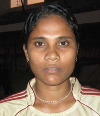 Orissa woman football international <b>Sangita Patra</b> in Bhubaneswar on <b>Oct 26, 2009.