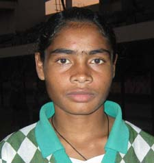 Orissa woman football international <b>Jabamani Soren</b> in Bhubaneswar on <b>Oct 26, 2009.