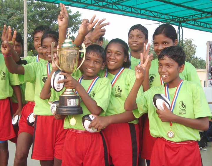 Boys of KISS 'B' lift the trophy at the Tag Rugby Tournament in Bhubaneswar on <b>Oct 30, 2009.
