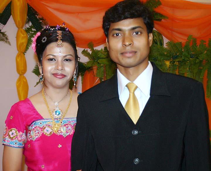Hockey Olympian Dilip Tirkey with his wife Meera on the occasion of their marriage on <b>Feb 6, 2006.