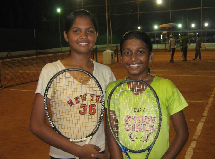 Abhilipsa Rath (Left) and Komal Vishakha after winning the under-16 girls double title at the AITA Talent Series Tennis Tournament in Bhubaneswar on <b>Nov 11, 2009.