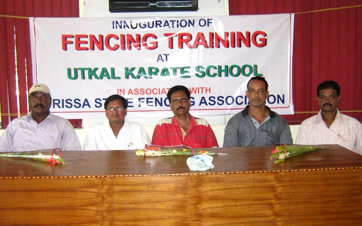 Officials of Orissa State Fencing Association at the new training centre in Utkal Karate School, Bhubaneswar on <b>Nov 15, 2009.