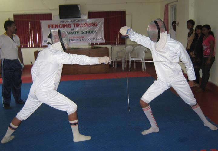 Fencing demonstration takes place at the Utkal Karate School training centre in Bhubaneswar on <b>Nov 15, 2009.