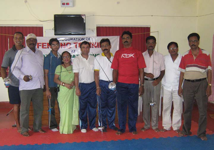 Officials and coaches at the launching of fencing training centre at Utkal Karate School in Bhubaneswar on <b>Nov 15, 2009.
