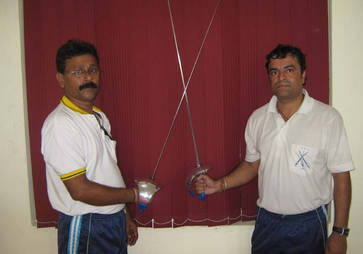 Coaches Santosh Pandey (Right) and Pintu Nag at the Utkal Karate School fencing training centre in Bhubaneswar on <b>Nov 15, 2009.