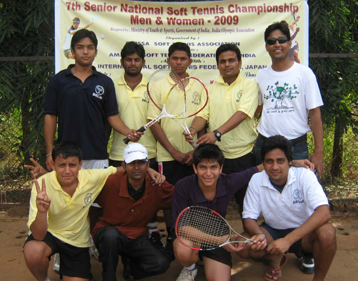 Members of Delhi men`s team after finishing runners-up in the team event of the 7th Senior National Soft Tennis Championship in Bhubaneswar on <b>Nov 16, 2009