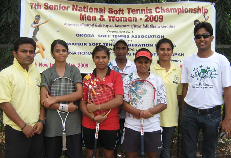 Members of Delhi women`s team after finishing runners-up in the team event of the 7th Senior National Soft Tennis Championship in Bhubaneswar on <b>Nov 16, 2009