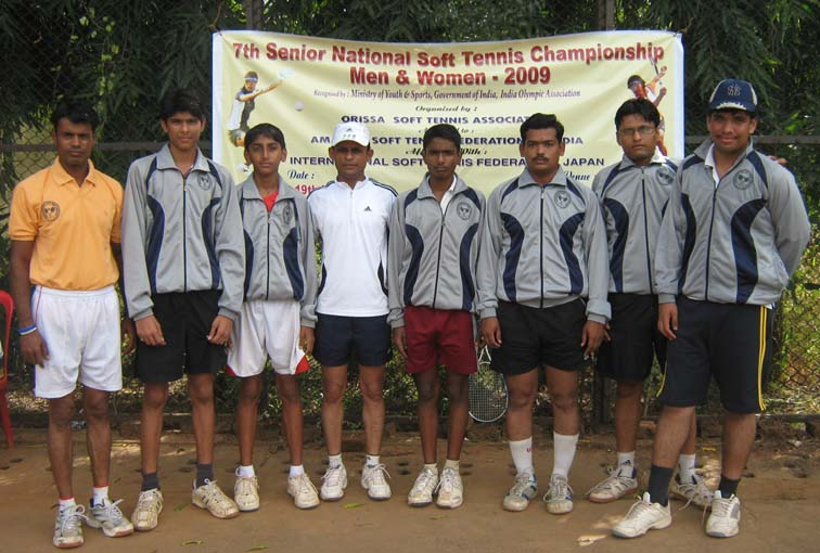 Members of Maharashtra men`s team after winning the team title at the 7th Senior National Soft Tennis Championship in Bhubaneswar on <b>Nov 16, 2009.