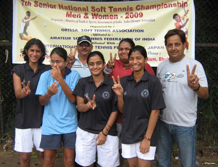 Members of Uttar Pradesh women`s team after winning the team title at the 7th Senior National Soft Tennis Championship in Bhubaneswar on <b>Nov 16, 2009.