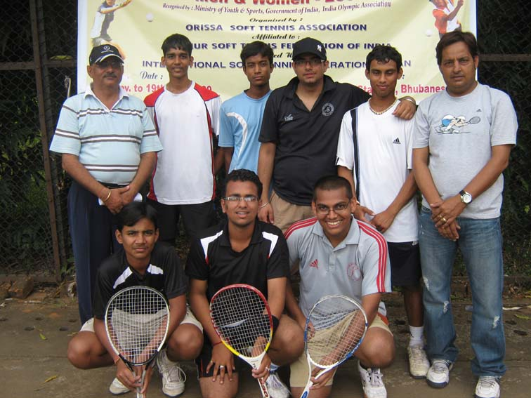 Members of Maharashtra men`s team after winning the bronze medal at the 7th Senior National Soft Tennis Championship in Bhubaneswar on <b>Nov 16, 2009.
