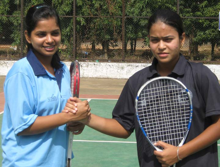 Taruka Srivastav (Left) and Samia Rizvi of UP celebrate after winning the women`s double crown at the 7th Senior National Soft Tennis Championship in Bhubaneswar on <b>Nov 18, 2009.