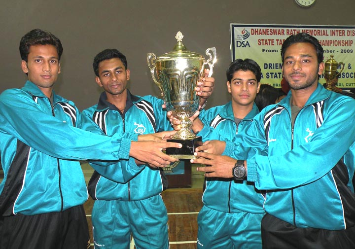Members of the title winnin Cuttack men`s team at the Inter-District & State Table Tennis Championship in Tangi on <b>Nov 30, 2009.