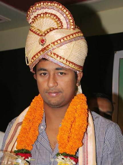 India spinner Pragyan Ojha at a felicitation function in Bhubaneswar in 2009.